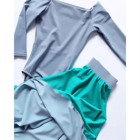 [Zidans] H2O (mint/grey) two-sided rehearsal skirt with elasticated waist