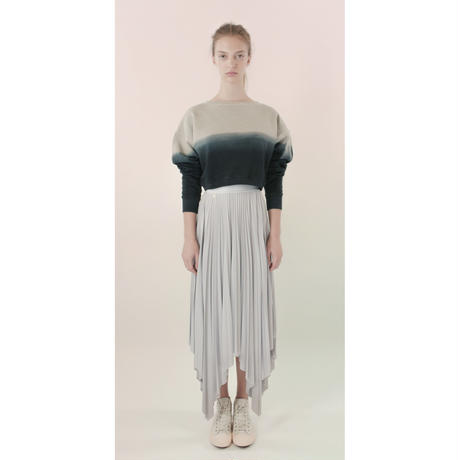 [Just A Corpse] COTTON-BOTTOM – gray bi-color V back cropped sweater