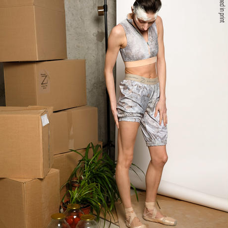 [Zidans] Warming sauna-pants Medium, stained in print Delicate Dirt