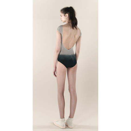 [Just A Corpse] COTTON-BOTTOM – gray bi-color backless leotard