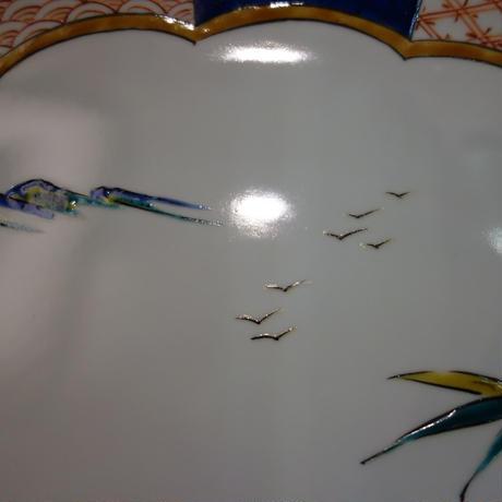 盛皿 15号 古九谷風引き船