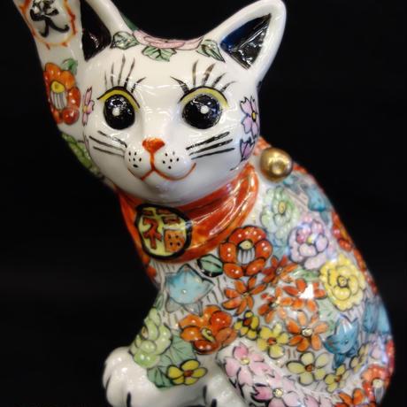 横向き金運招き猫花詰5.5号
