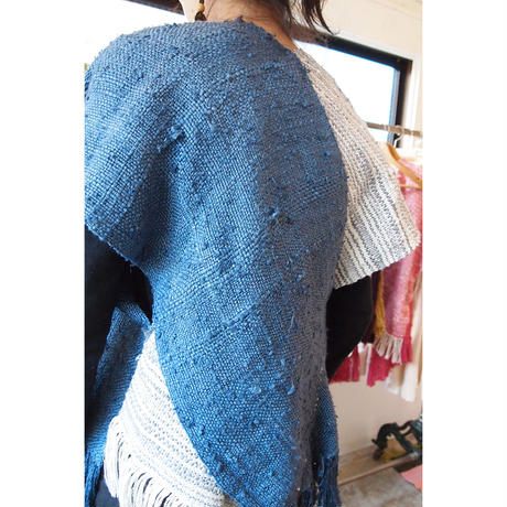 Yarn dyed × overdyed『kibiso』poncho(short)