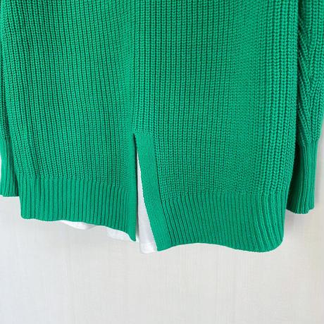 【siro de labonte シロ】COTTON ACRYLIC docking pullover  (ドッキングプルオーバー)green -R143112