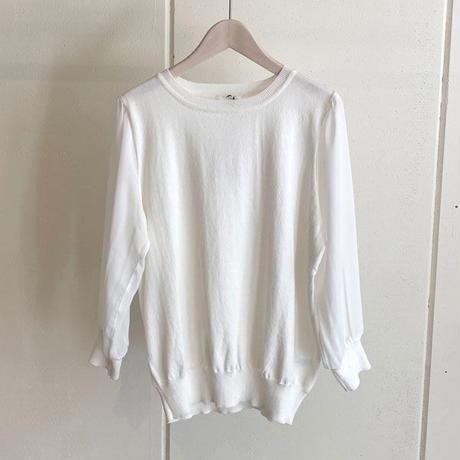 【siro de labonte シロ】chiffon docking pullover   (シフォンドッキングプルオーバー)offwhite -R113108