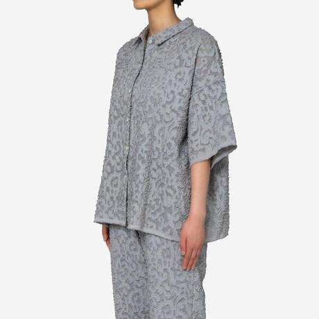 【Greed International グリードインターナショナル】Original Flower Cut JQ Shirt in Light Gray