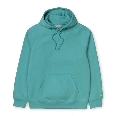 【Carhartt WIP /カーハートウィップ】HOODED CHASE  (フードスウェット)I026-384 Cold Turquoise / Gold