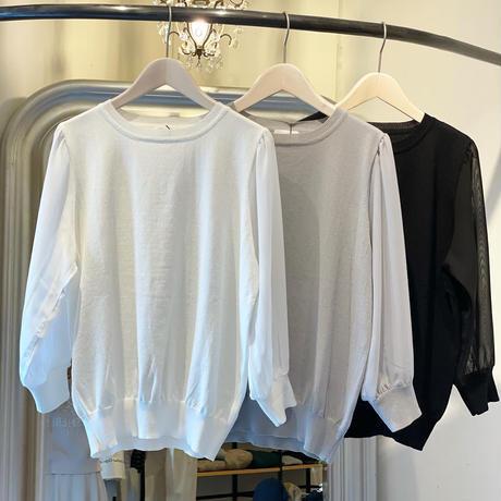 【siro de labonte シロ】chiffon docking pullover   (シフォンドッキングプルオーバー)black -R113108