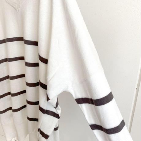 【siro de labonte シロ】V neck big pullover  (Vネックビッグプルオーバー)white/grey -R113103B