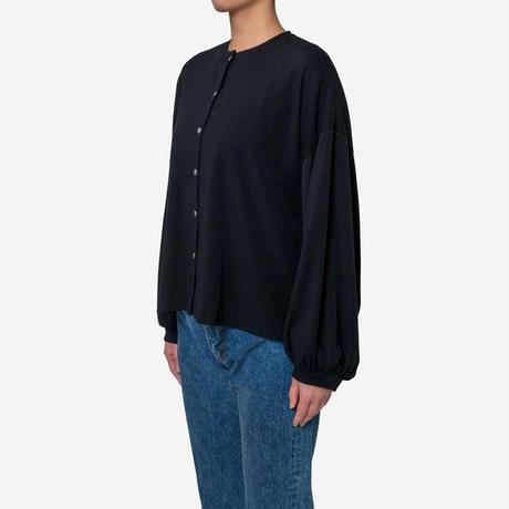 【Bed&Breakfast】Technorama Rib Puff Sleeve Snap Top in Black