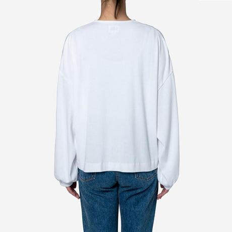 【Bed&Breakfast】Technorama Rib Puff Sleeve Snap Top in White