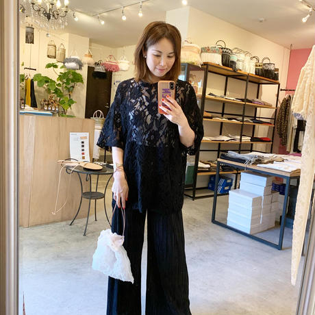 【Bed&Breakfast ベッド&ブレイクファースト】Floral Stretch Lace Shor Sleeve Tee (フローラルストレッチレースティー) Black