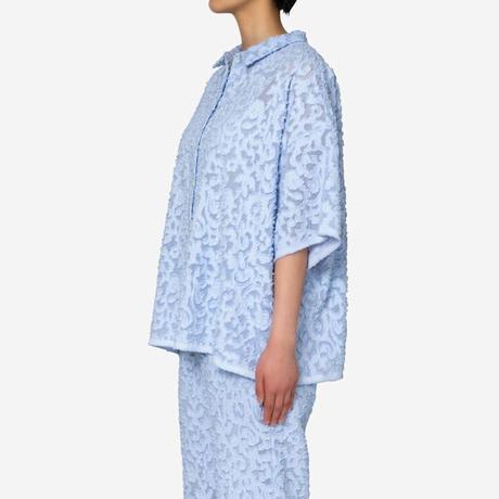 【Greed International グリードインターナショナル】Original Flower Cut JQ Shirt in Light Blue