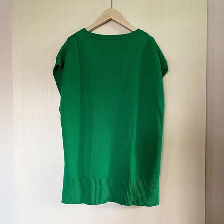 【siro de labonte シロ】COTTON ACRYLIC cable vest  (ケーブルベスト)green -R143111