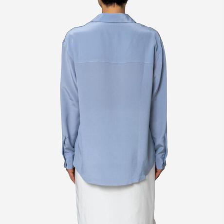 【Bed&Breakfast】Silk Crape Dechine Shirt in Blue