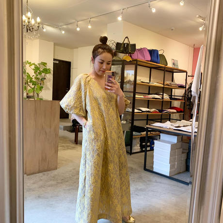 【Greed International グリードインターナショナル】Splash Jacquard Big Flare Dress-beige
