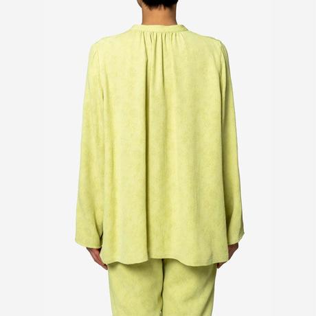 【Greed International グリードインターナショナル】Original Flower Crepe Jacquard Blouse in Lime