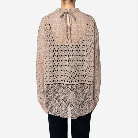 【Greed International グリードインターナショナル】Floral Geometric Chemical Lace Moc Neck  Blouse (モックネックブラウス)Beige