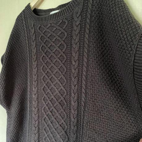 【siro de labonte シロ】COTTON ACRYLIC cable vest  (ケーブルベスト)ashgray -R143111