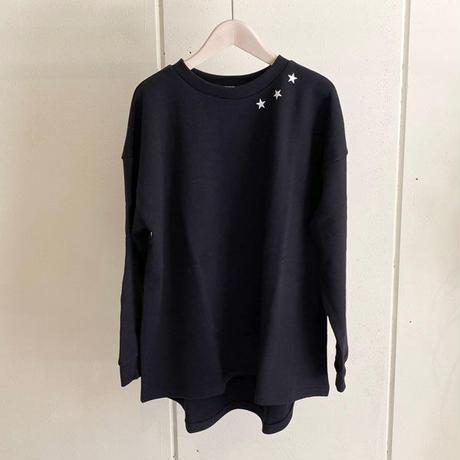 【siro de labonte シロ】triple star wide pullover   (コットンスウェット)black -R113203