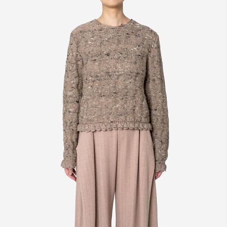 【Greed International グリードインターナショナル】Mix Seed StitchShort Slit Sweater  (ショートセーター)-brown