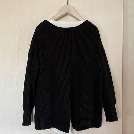 【siro de labonte シロ】COTTON ACRYLIC docking pullover  (ドッキングプルオーバー)black -R143112