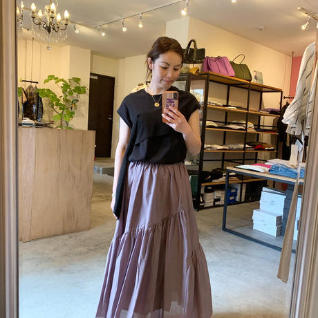 【CLOCHE クロシェ】cotton skirt(コットンスカート)beige/black/lavender /red