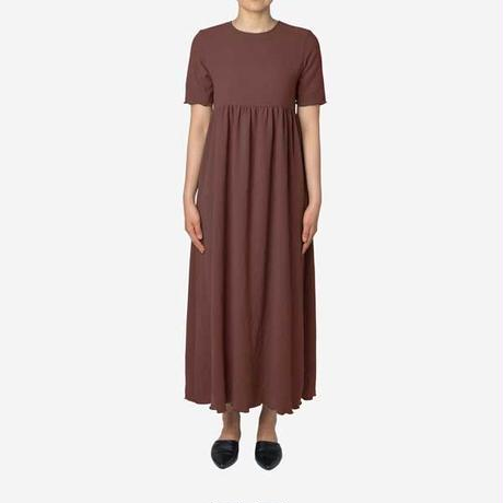 【Greed International グリードインターナショナル】Dry Stretch Georgette Gather Dress in Brown