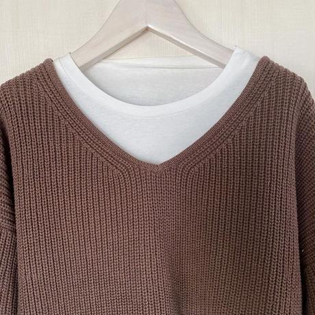 【siro de labonte シロ】COTTON ACRYLIC docking pullover  (ドッキングプルオーバー)brown -R143112