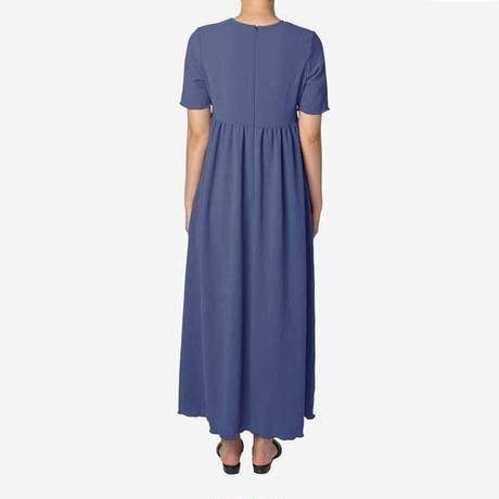 【Greed International グリードインターナショナル】Dry Stretch Georgette Gather Dress in Blue