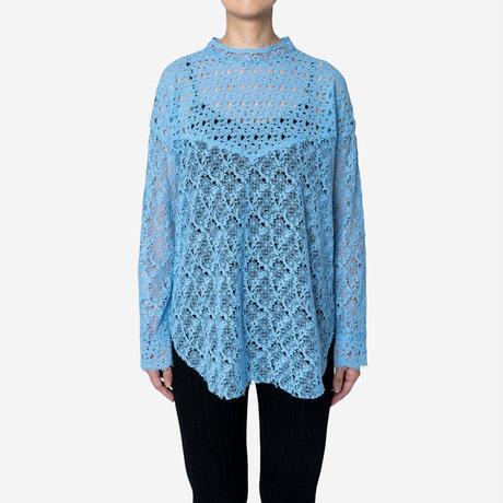 【Greed International グリードインターナショナル】Floral Geometric Chemical Lace Moc Neck  Blouse (モックネックブラウス)Blue