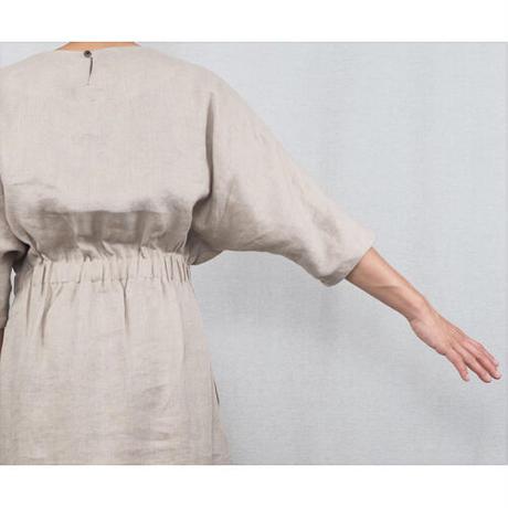 No.285op(kinari) リネンボートネックドレス/キナリ