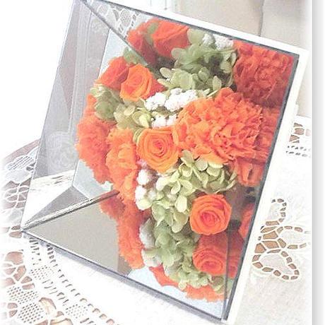 NO109 プリザーブドフラワー ギフト ミラーアレンジ(オレンジ) 母の日 結婚式 送料無料!