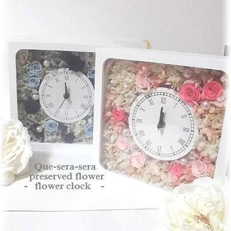 NO104 ギフトにぴったり! プリザーブドフラワー 花時計(角型ブルー)  母の日 結婚 送料無料