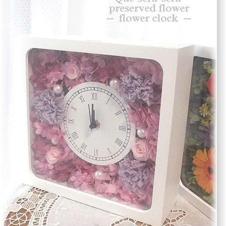 NO114 ギフトにぴったり! プリザーブドフラワー 花時計(角型ピンク×ライラック)  母の日 結婚 送料無料