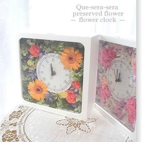 NO112 ギフトにぴったり! プリザーブドフラワー 花時計(角型オレンジ)  母の日 結婚 送料無料