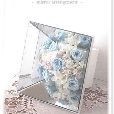 NO102 プリザーブドフラワー ギフト ミラーアレンジ(ブルー) 母の日 結婚式 送料無料!