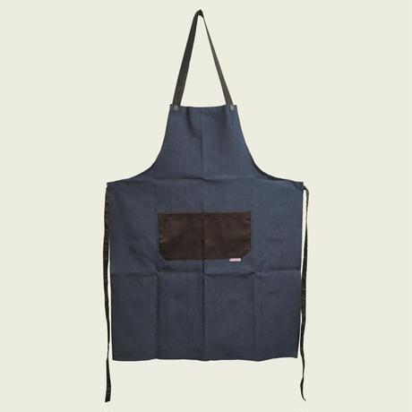 【イタリア製】胸付きシェフエプロン・ロック ジーンズブラウン(首紐調整ボタン付き)エゴシェフ