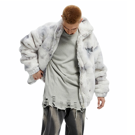 Black and white tie dyed rabbit hair jacket/TGNS