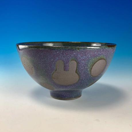 【G105】うさぎ水玉模様のご飯茶碗(淡青赤土・うさぎ印)