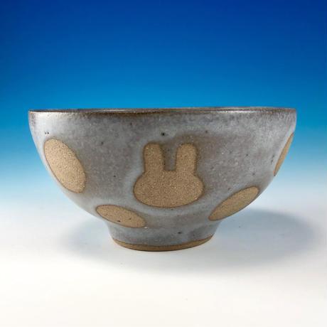 【G098】うさぎ水玉模様のご飯茶碗ミニ(灰透明・赤土・うさぎ印)
