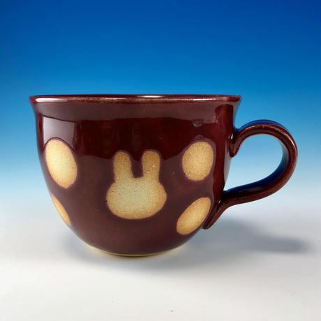 【M207】広口のうさぎ水玉模様のマグカップ小(ボルドー・うさぎ印)
