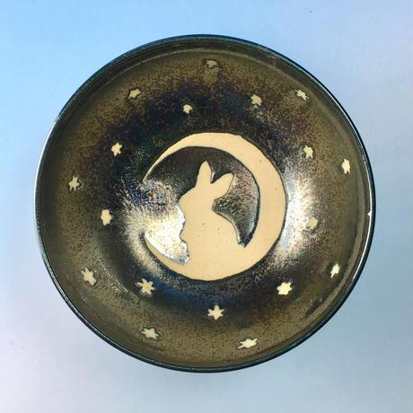 【G053】月夜のうさぎ柄のご飯茶碗ミニ(銀彩釉・手描き)
