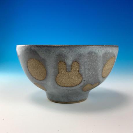 【G081】うさぎ水玉模様のご飯茶碗ミニ(灰透明赤土・ハート・うさぎ印)