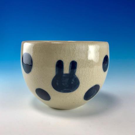 【F036】うさぎ水玉模様のフリーボール(呉須・うさぎ印)