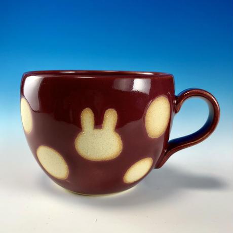 【M234】丸いフォルムのうさぎ水玉模様のマグカップ小(ボルドー・うさぎ印)