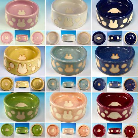 【Reserved item】うさぎ水玉模様のうさぎ様用食器・SMサイズ(選べるカラー9色・うさぎ印)