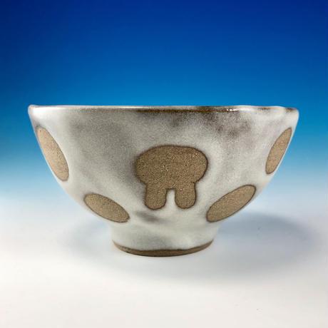 【G097】うさぎ水玉模様のご飯茶碗ミニ(白マット・赤土・うさぎ印)