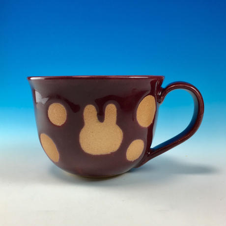 【M201】広口のうさぎ水玉模様のマグカップ大(ボルドー・うさぎ印)