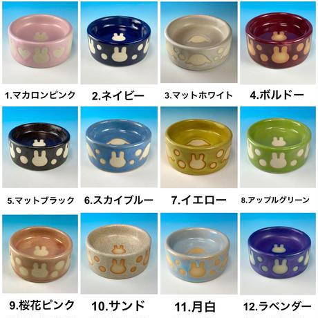 【Special orders】うさぎ水玉模様のうさぎ様用食器・SSサイズ、Sサイズ、SMサイズ(選べるカラー12色・うさぎ印)